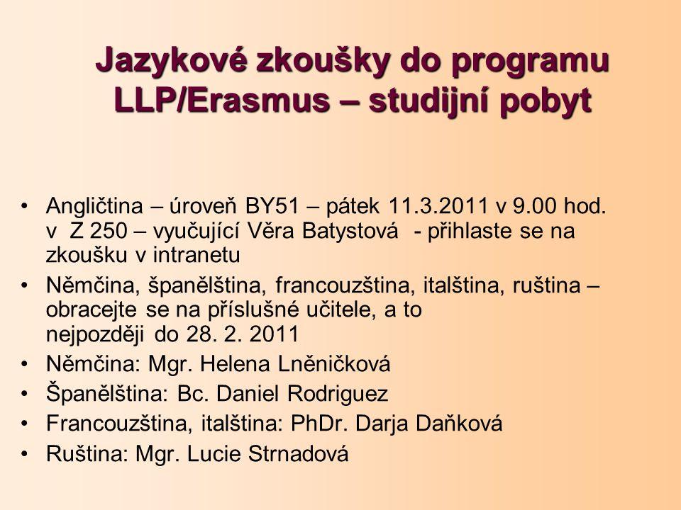 Jazykové zkoušky do programu LLP/Erasmus – studijní pobyt Angličtina – úroveň BY51 – pátek 11.3.2011 v 9.00 hod.