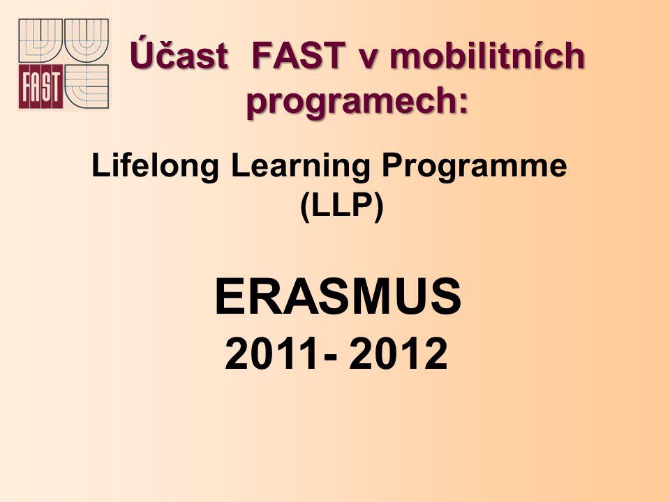 Účast FAST v mobilitních programech: Lifelong Learning Programme (LLP) ERASMUS 2011- 2012