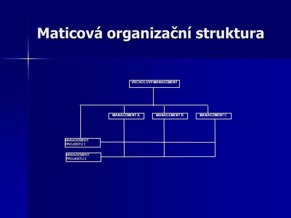 Maticová organizační struktura VRCHOLOVÝ MANAGEMENT MANAGEMENT AMANAGEMENT CMANAGEMENT B MANAGEMENT PROJEKTU 1 MANAGEMENT PROJEKTU 2