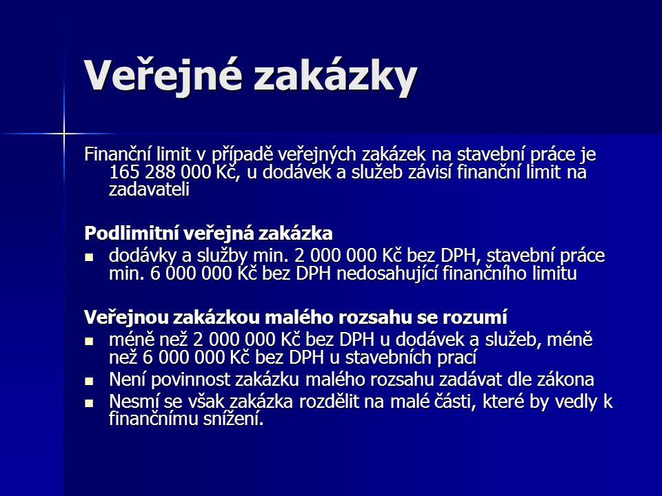 Veřejné zakázky Finanční limit v případě veřejných zakázek na stavební práce je 165 288 000 Kč, u dodávek a služeb závisí finanční limit na zadavateli