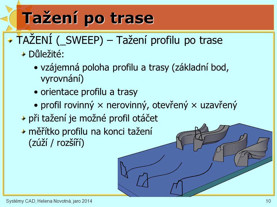 Tažení po trase TAŽENÍ (_SWEEP) – Tažení profilu po trase Důležité: vzájemná poloha profilu a trasy (základní bod, vyrovnání) orientace profilu a tras
