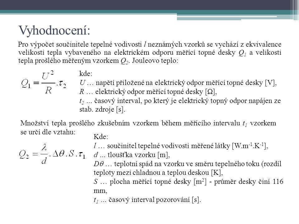 Sloučením obou vztahů za předpokladu ekvivalence Q 1 = Q 2 platí : Po zavedení korekční hodnoty , z důvodu tepelných ztrát bočním vyzařováním, získáme vztah: Konstanty přístroje:R = 72,4352 Ω, S= 0,0105683 m 2,  = korekční hodnota uvedená na přístroji [K], U = hodnota napětí odečtená na voltmetru [V].