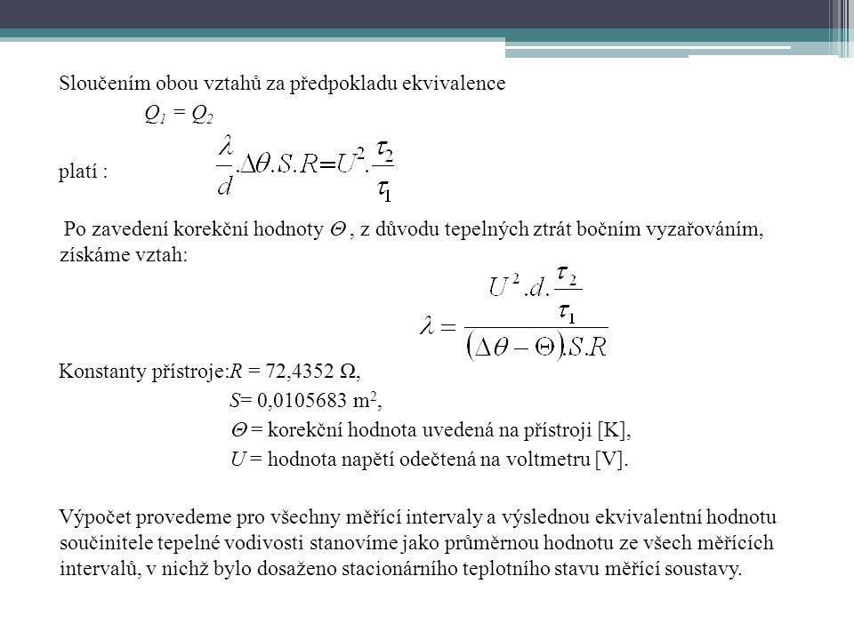 Sloučením obou vztahů za předpokladu ekvivalence Q 1 = Q 2 platí : Po zavedení korekční hodnoty , z důvodu tepelných ztrát bočním vyzařováním, získám