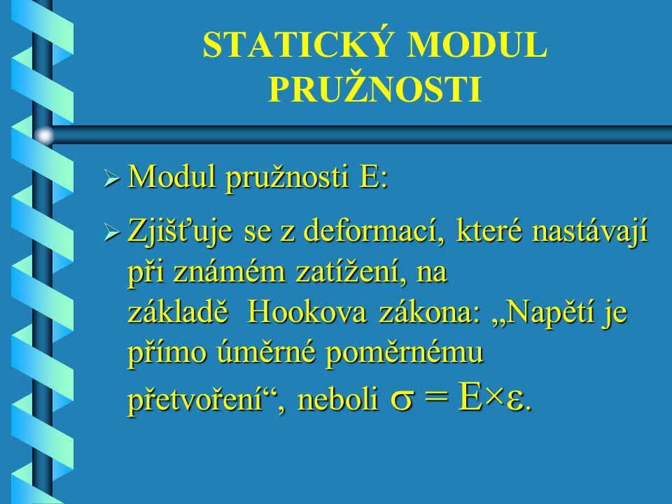 """STATICKÝ MODUL PRUŽNOSTI  Modul pružnosti E:  Zjišťuje se z deformací, které nastávají při známém zatížení, na základě Hookova zákona: """"Napětí je přímo úměrné poměrnému přetvoření , neboli  = E× ."""