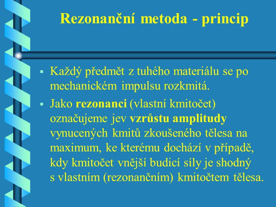 Rezonanční metoda - princip   Každý předmět z tuhého materiálu se po mechanickém impulsu rozkmitá.
