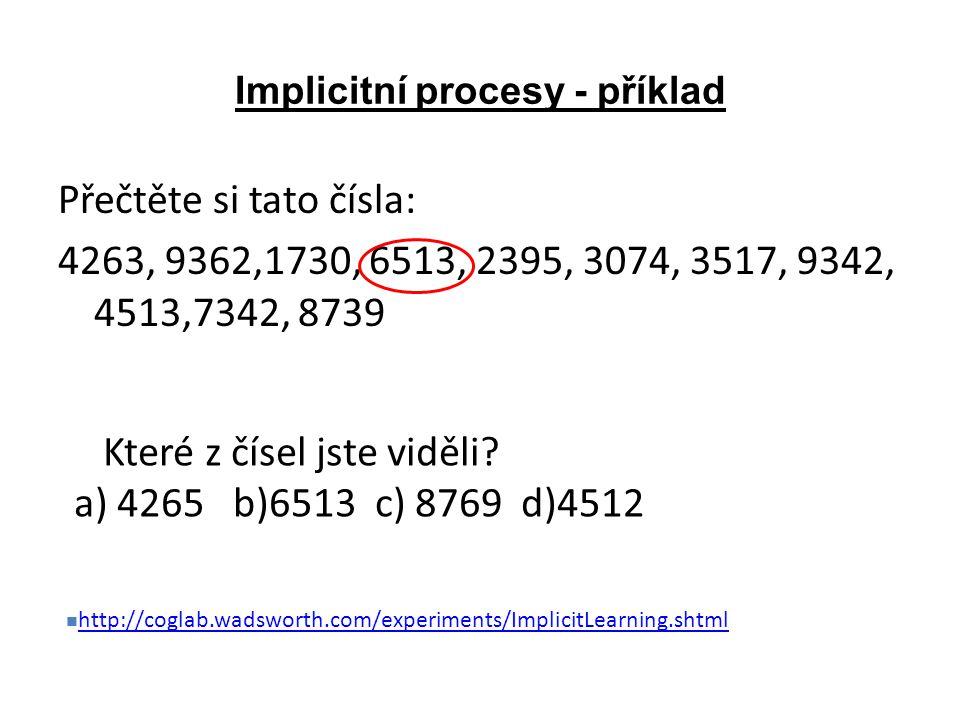 Implicitní procesy - příklad Přečtěte si tato čísla: 4263, 9362,1730, 6513, 2395, 3074, 3517, 9342, 4513,7342, 8739 Které z čísel jste viděli? a) 4265
