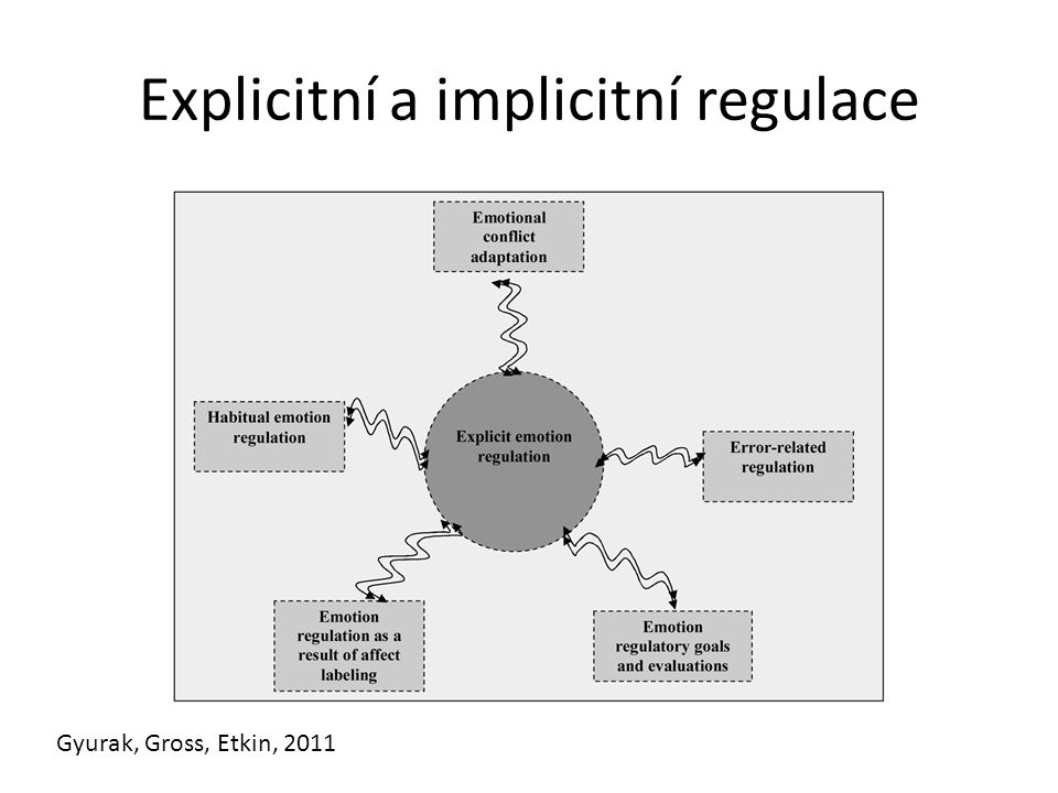Explicitní a implicitní regulace Gyurak, Gross, Etkin, 2011