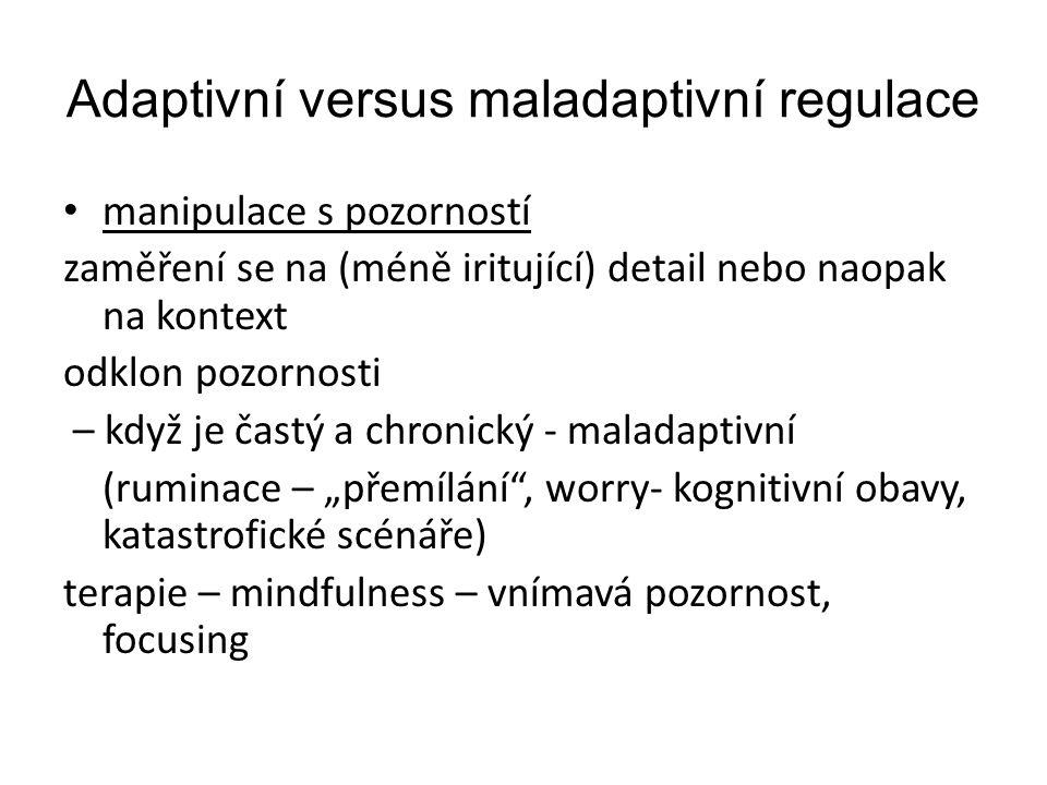 Adaptivní versus maladaptivní regulace manipulace s pozorností zaměření se na (méně iritující) detail nebo naopak na kontext odklon pozornosti – když