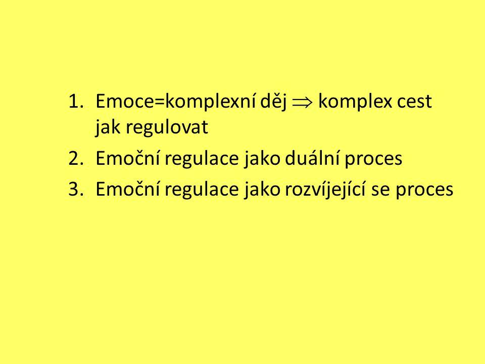 1.Emoce=komplexní děj  komplex cest jak regulovat 2.Emoční regulace jako duální proces 3.Emoční regulace jako rozvíjející se proces