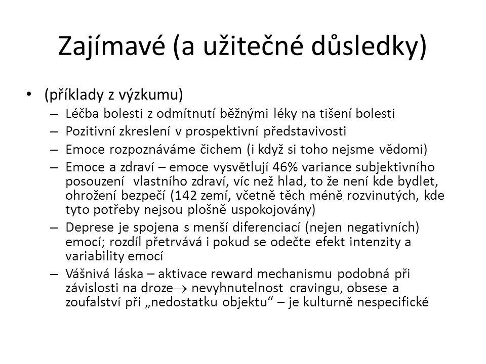 Zajímavé (a užitečné důsledky) (příklady z výzkumu) – Léčba bolesti z odmítnutí běžnými léky na tišení bolesti – Pozitivní zkreslení v prospektivní př