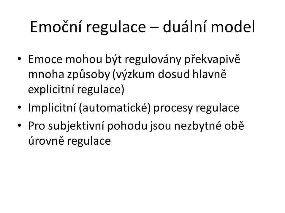 Emoční regulace – duální model Emoce mohou být regulovány překvapivě mnoha způsoby (výzkum dosud hlavně explicitní regulace) Implicitní (automatické)