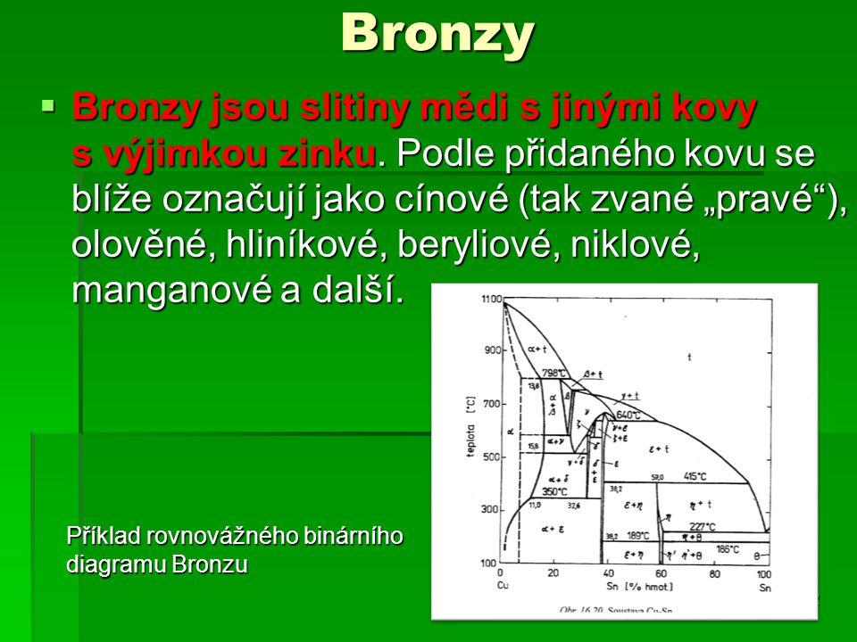 """Bronzy  Bronzy jsou slitiny mědi s jinými kovy s výjimkou zinku. Podle přidaného kovu se blíže označují jako cínové (tak zvané """"pravé""""), olověné, hli"""