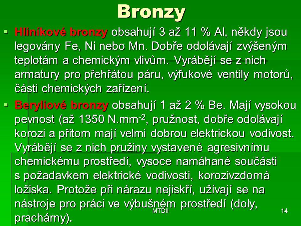 Bronzy  Hliníkové bronzy obsahují 3 až 11 % Al, někdy jsou legovány Fe, Ni nebo Mn. Dobře odolávají zvýšeným teplotám a chemickým vlivům. Vyrábějí se