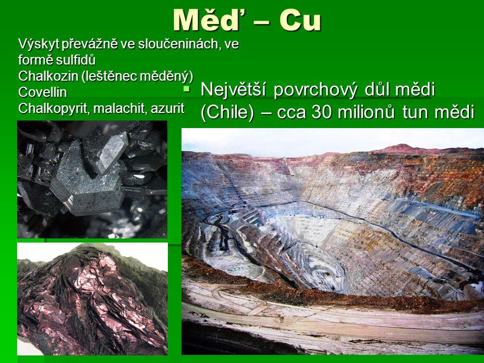 Měď – Cu  Největší povrchový důl mědi (Chile) – cca 30 milionů tun mědi MTDII9 Výskyt převážně ve sloučeninách, ve formě sulfidů Chalkozin (leštěnec