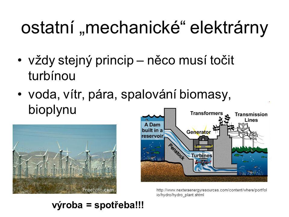 """ostatní """"mechanické"""" elektrárny vždy stejný princip – něco musí točit turbínou voda, vítr, pára, spalování biomasy, bioplynu http://www.nexteraenergyr"""
