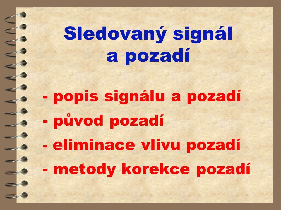 Sledovaný signál a pozadí - popis signálu a pozadí - původ pozadí - eliminace vlivu pozadí - metody korekce pozadí