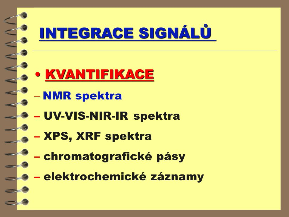INTEGRACE SIGNÁLŮ KVANTIFIKACE KVANTIFIKACE – NMR spektra – UV-VIS-NIR-IR spektra – XPS, XRF spektra – chromatografické pásy – elektrochemické záznamy