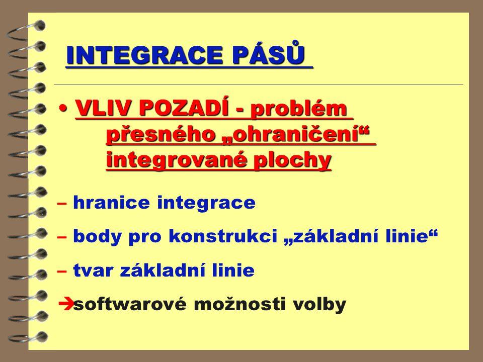"""INTEGRACE PÁSŮ VLIV POZADÍ - problém přesného """"ohraničení"""" integrované plochy VLIV POZADÍ - problém přesného """"ohraničení"""" integrované plochy – hranice"""