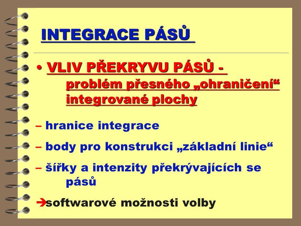 """INTEGRACE PÁSŮ VLIV PŘEKRYVU PÁSŮ - problém přesného """"ohraničení"""" integrované plochy VLIV PŘEKRYVU PÁSŮ - problém přesného """"ohraničení"""" integrované pl"""