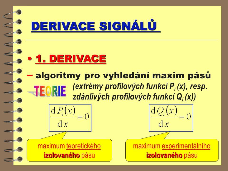 DERIVACE SIGNÁLŮ 1. DERIVACE 1. DERIVACE – algoritmy pro vyhledání maxim pásů (extrémy profilových funkcí P i (x), resp. zdánlivých profilových funkcí