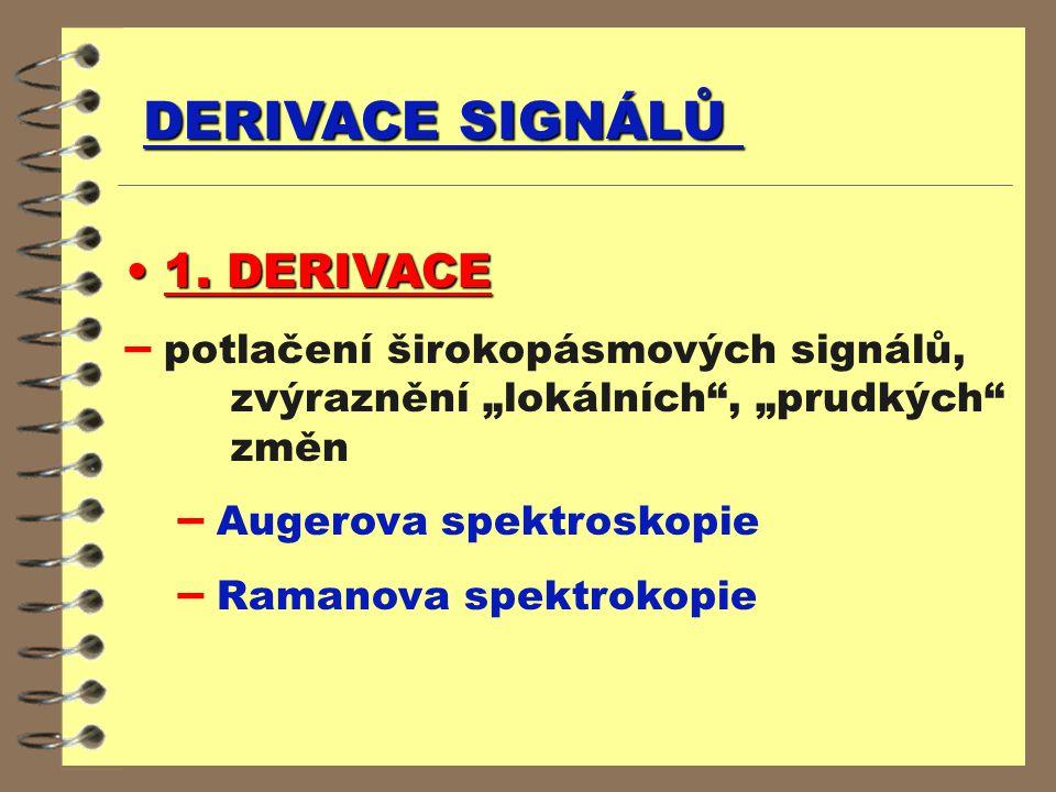 """DERIVACE SIGNÁLŮ 1. DERIVACE 1. DERIVACE – potlačení širokopásmových signálů, zvýraznění """"lokálních"""", """"prudkých"""" změn – Augerova spektroskopie – Raman"""
