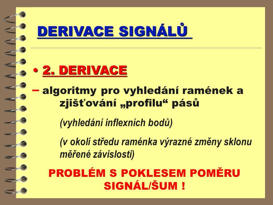 """DERIVACE SIGNÁLŮ 2. DERIVACE 2. DERIVACE – algoritmy pro vyhledání ramének a zjišťování """"profilu"""" pásů (vyhledání inflexních bodů) (v okolí středu ram"""