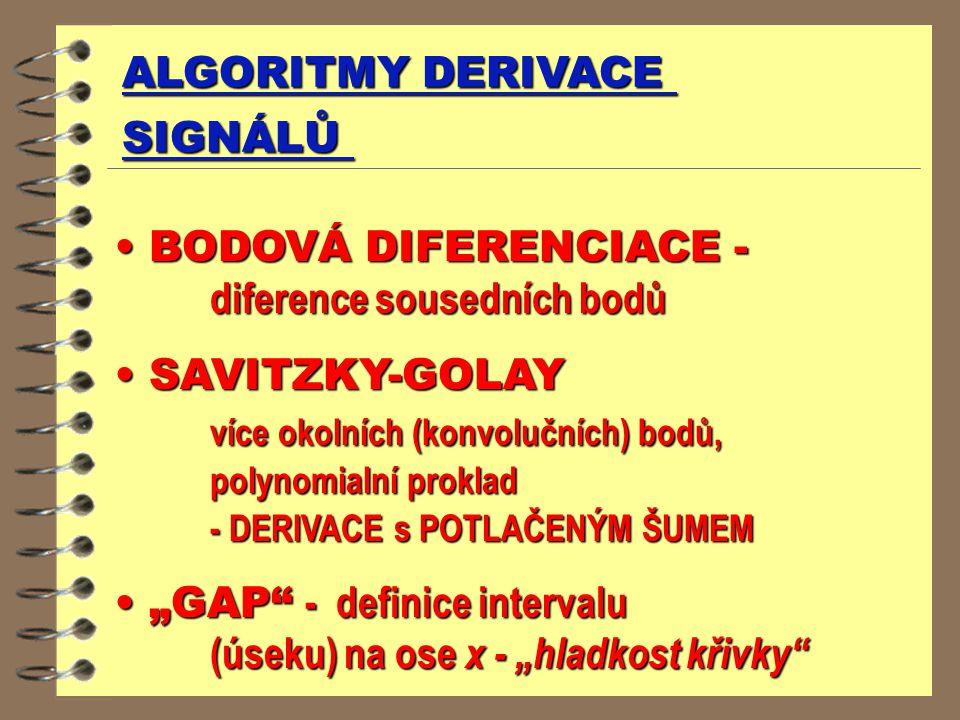 ALGORITMY DERIVACE SIGNÁLŮ BODOVÁ DIFERENCIACE - diference sousedních bodů BODOVÁ DIFERENCIACE - diference sousedních bodů SAVITZKY-GOLAY SAVITZKY-GOL