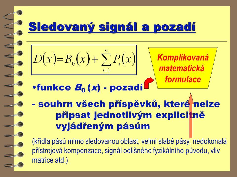 Sledovaný signál a pozadí funkce B 0 (x) - pozadí - souhrn všech příspěvků, které nelze připsat jednotlivým explicitně vyjádřeným pásům (křídla pásů m