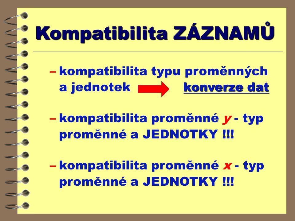 Kompatibilita ZÁZNAMŮ konverze dat –kompatibilita typu proměnných a jednotek konverze dat –kompatibilita proměnné y - typ proměnné a JEDNOTKY !!.