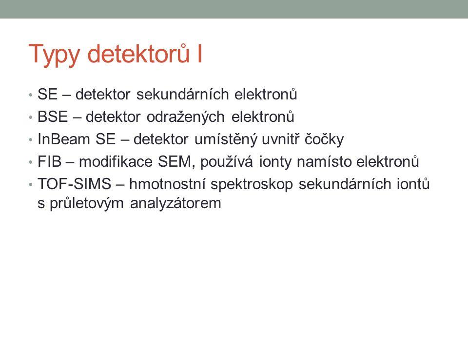 Typy detektorů I SE – detektor sekundárních elektronů BSE – detektor odražených elektronů InBeam SE – detektor umístěný uvnitř čočky FIB – modifikace SEM, používá ionty namísto elektronů TOF-SIMS – hmotnostní spektroskop sekundárních iontů s průletovým analyzátorem