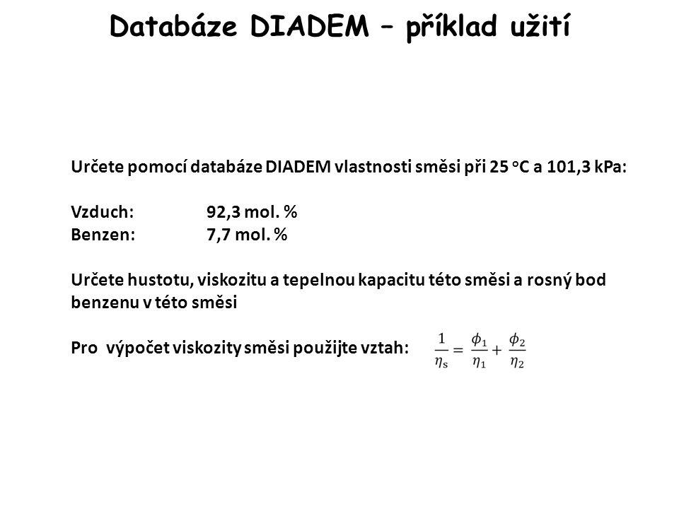 Databáze DIADEM – příklad užití Určete pomocí databáze DIADEM vlastnosti směsi při 25 o C a 101,3 kPa: Vzduch:92,3 mol.