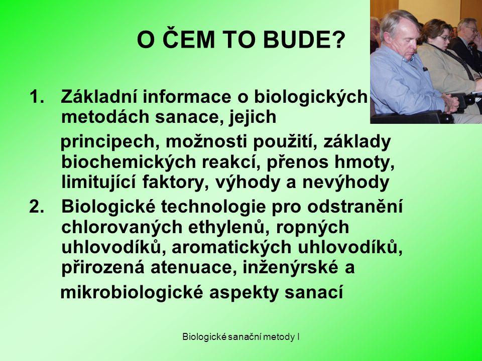 Biologické sanační metody I O ČEM TO BUDE? 1.Základní informace o biologických metodách sanace, jejich principech, možnosti použití, základy biochemic