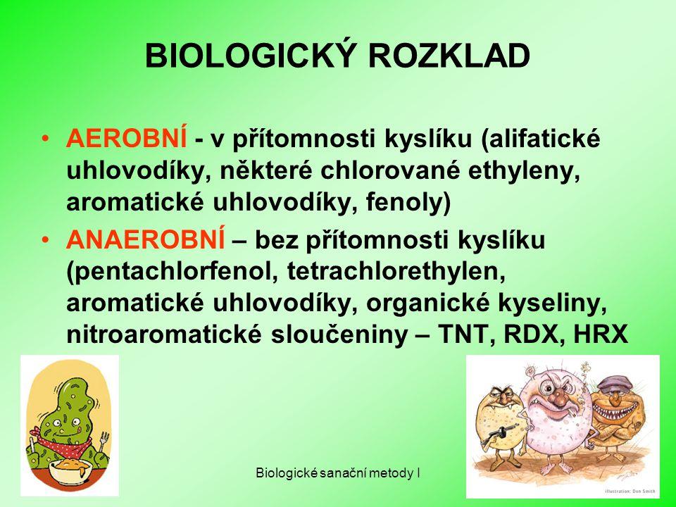 Biologické sanační metody I BIOLOGICKÝ ROZKLAD AEROBNÍ - v přítomnosti kyslíku (alifatické uhlovodíky, některé chlorované ethyleny, aromatické uhlovod