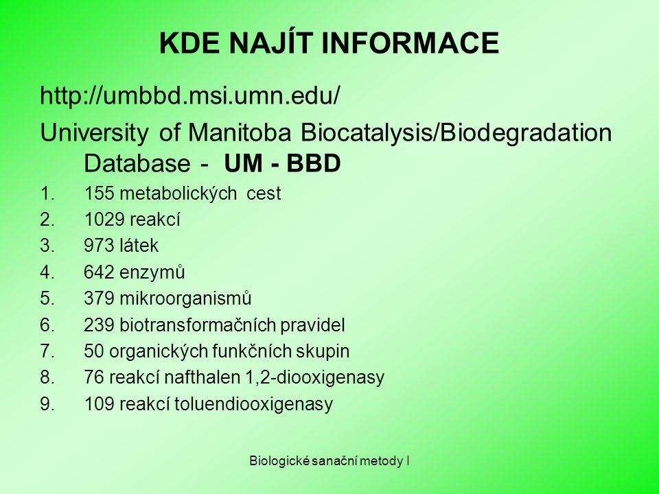 Biologické sanační metody I KDE NAJÍT INFORMACE http://umbbd.msi.umn.edu/ University of Manitoba Biocatalysis/Biodegradation Database - UM - BBD 1.155