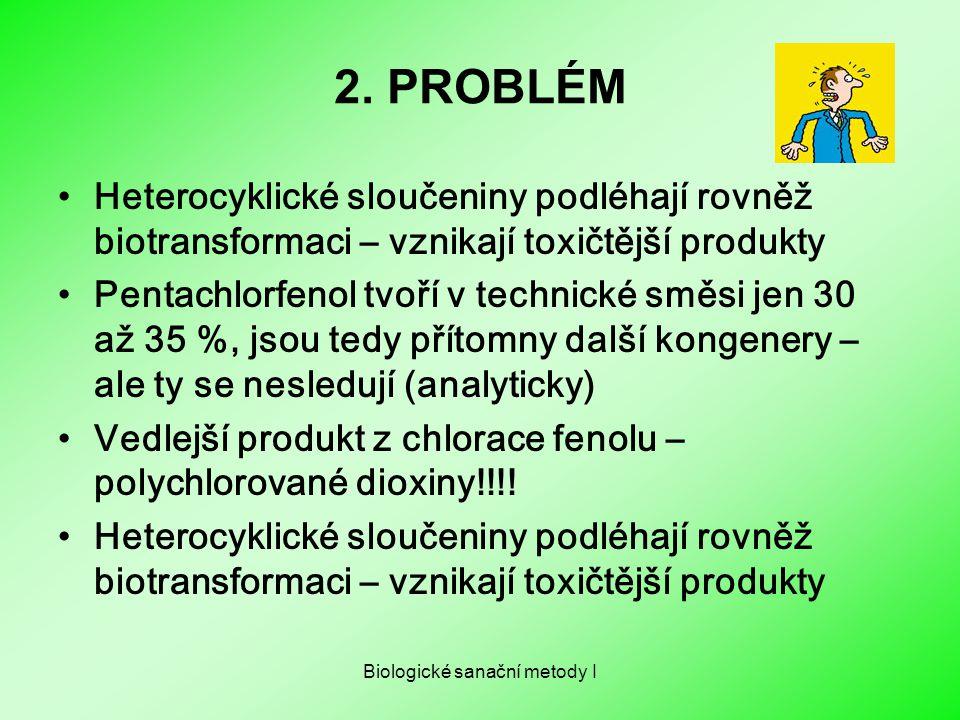 Biologické sanační metody I 2. PROBLÉM Heterocyklické sloučeniny podléhají rovněž biotransformaci – vznikají toxičtější produkty Pentachlorfenol tvoří