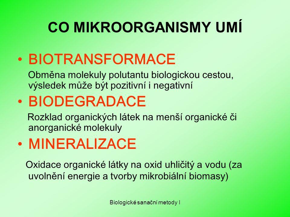 Biologické sanační metody I CO MIKROORGANISMY UMÍ BIOTRANSFORMACE Obměna molekuly polutantu biologickou cestou, výsledek může být pozitivní i negativn
