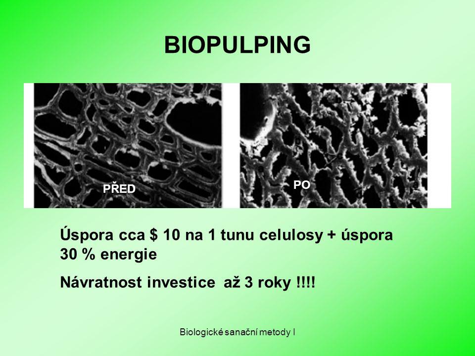 Biologické sanační metody I BIOPULPING PŘED PO Úspora cca $ 10 na 1 tunu celulosy + úspora 30 % energie Návratnost investice až 3 roky !!!!