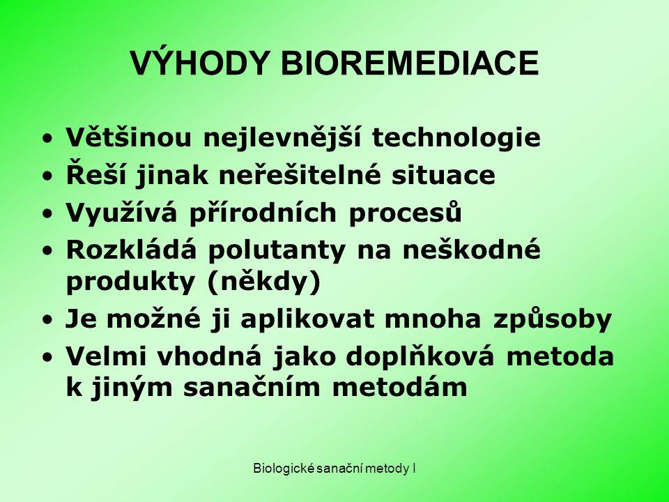 Biologické sanační metody I VÝHODY BIOREMEDIACE Většinou nejlevnější technologie Řeší jinak neřešitelné situace Využívá přírodních procesů Rozkládá po