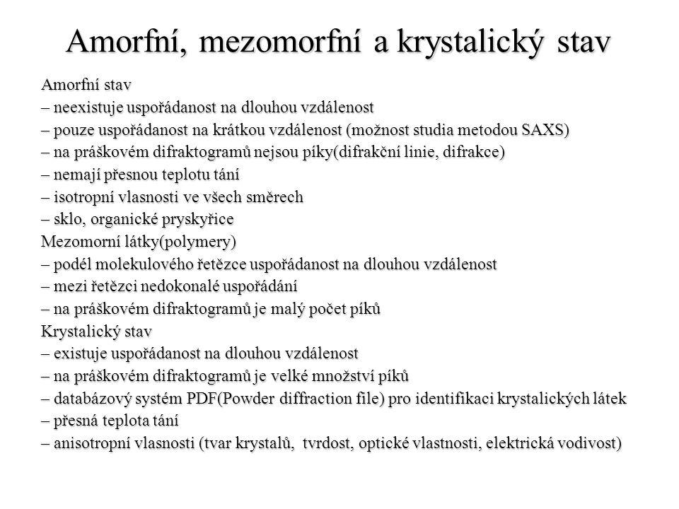 Amorfní, mezomorfní a krystalický stav Amorfní stav – neexistuje uspořádanost na dlouhou vzdálenost – pouze uspořádanost na krátkou vzdálenost (možnos