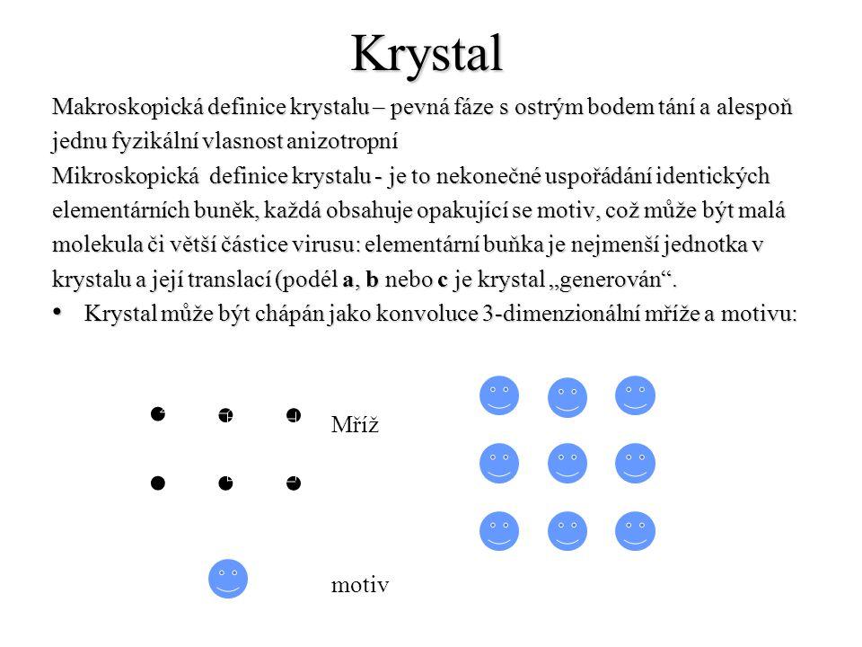 Krystal Makroskopická definice krystalu – pevná fáze s ostrým bodem tání a alespoň jednu fyzikální vlasnost anizotropní Mikroskopická definice krystal