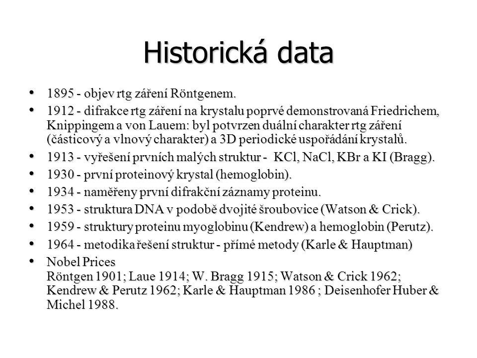 Historická data 1895 - objev rtg záření Röntgenem. 1895 - objev rtg záření Röntgenem. 1912 - difrakce rtg záření na krystalu poprvé demonstrovaná Frie