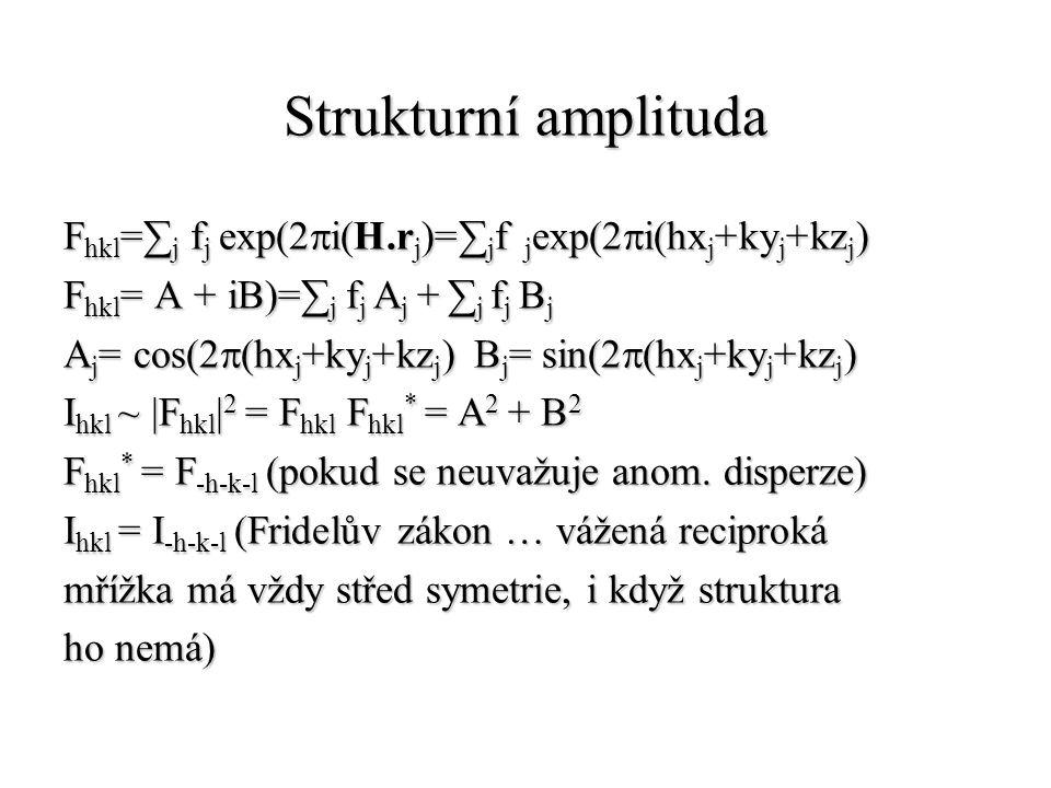 Strukturní amplituda F hkl =∑ j f j exp(2  i(H.r j )=∑ j f j exp(2  i(hx j +ky j +kz j ) F hkl = A + iB)=∑ j f j A j + ∑ j f j B j A j = cos(2  (hx