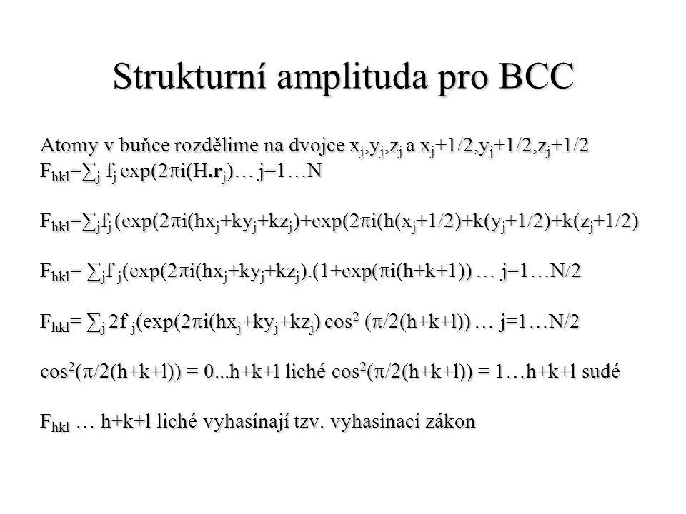 Strukturní amplituda pro BCC Atomy v buňce rozdělime na dvojce x j,y j,z j a x j +1/2,y j +1/2,z j +1/2 F hkl =∑ j f j exp(2  i(H.r j )… j=1…N F hkl