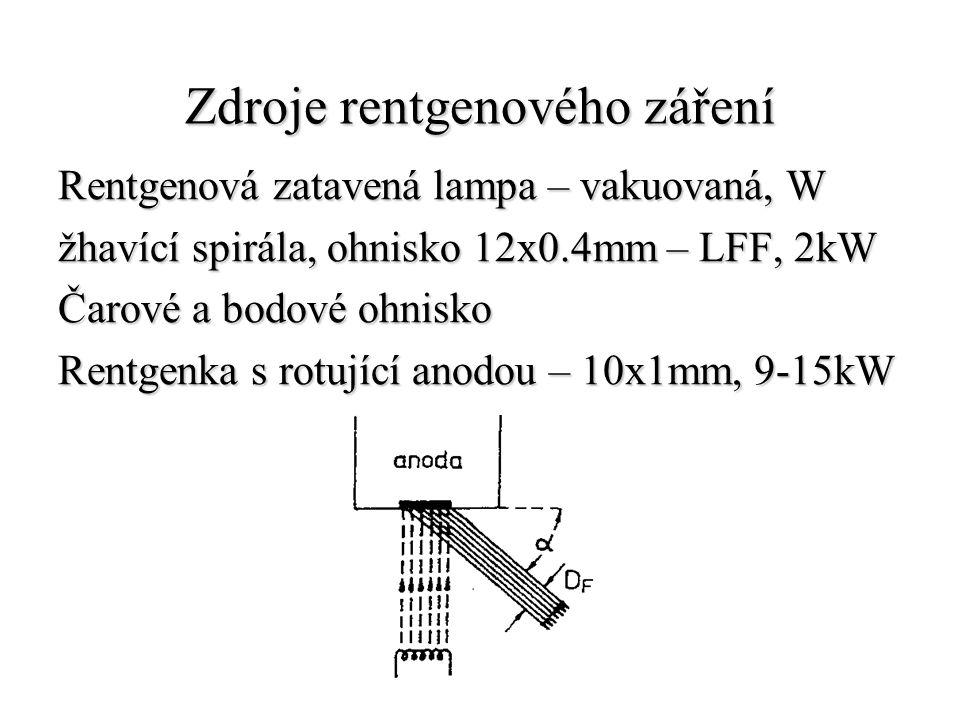 Zdroje rentgenového záření Rentgenová zatavená lampa – vakuovaná, W žhavící spirála, ohnisko 12x0.4mm – LFF, 2kW Čarové a bodové ohnisko Rentgenka s r