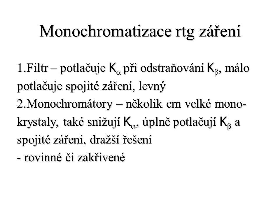Monochromatizace rtg záření 1.Filtr – potlačuje K  při odstraňování  K , málo potlačuje spojité záření, levný 2.Monochromátory – několik cm velké