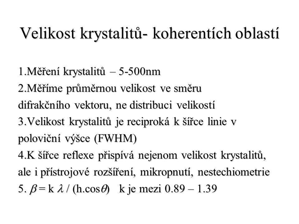 Velikost krystalitů- koherentích oblastí 1.Měření krystalitů – 5-500nm 2.Měříme průměrnou velikost ve směru difrakčního vektoru, ne distribuci velikos