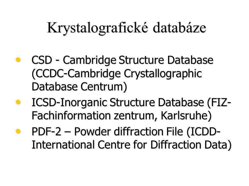 Krystalografické databáze Krystalografické databáze CSD - Cambridge Structure Database (CCDC-Cambridge Crystallographic Database Centrum) CSD - Cambri