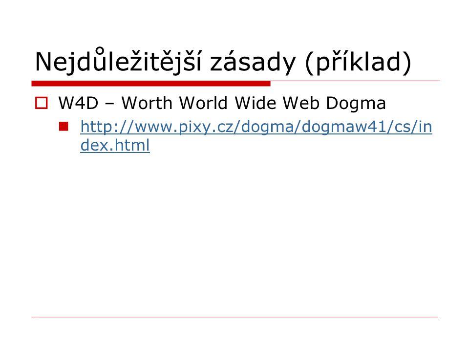 Nejdůležitější zásady (příklad)  W4D – Worth World Wide Web Dogma http://www.pixy.cz/dogma/dogmaw41/cs/in dex.html http://www.pixy.cz/dogma/dogmaw41/cs/in dex.html