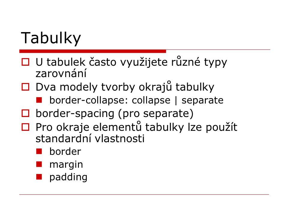Tabulky  U tabulek často využijete různé typy zarovnání  Dva modely tvorby okrajů tabulky border-collapse: collapse | separate  border-spacing (pro