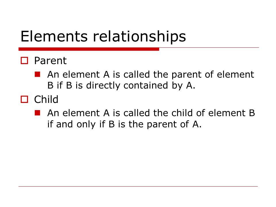 Elements relationships  Descendant An element A is called a descendant of an element B, if either (1) A is a child of B, or (2) A is the child of some element C that is a descendant of B.